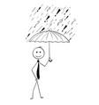 cartoon of business man holding umbrella vector image