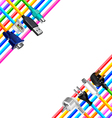 Colorful cables and plugs in corners isolated vector image vector image