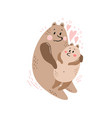 cute postcard happy family with a bear vector image vector image