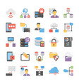 database and storage flat icons collection vector image vector image