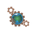 earth in gears vector image vector image