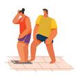 female on scales joke man putting leg vector image