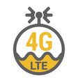 flat 4g lte logo icon with antenna and wave vector image
