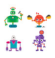 flat cartoon funny repairing robots set vector image