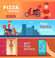 food pizza delivery postal courier deliver man vector image