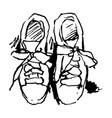 free hand drawing a pair shoes vector image