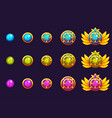 gems award progress golden amulets set with round vector image vector image