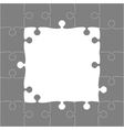 Grey Puzzles Pieces - JigSaw Frame - 25 vector image vector image
