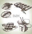 Hand drawn sushi set vector image