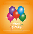 happy birthday glowing balloons poster party vector image