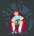 happy gamer playing video game sitting on the vector image vector image