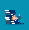 huge stack books reading and learning concept vector image
