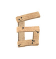 number 6 wood board font six symbol plank and vector image vector image