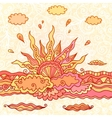 Ornate doodle rising sun vector image vector image