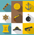 pirates element icon set flat style vector image vector image