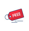 price tag sale and free icon vector image