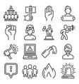 protest icons public citizen demonstration set vector image vector image