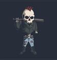 punk skull vector image vector image