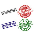 scratched textured naturists only seal stamps vector image