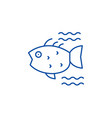 sea fish line icon concept sea fish flat vector image