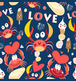 seamless jolly pattern with crabs in love vector image vector image