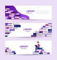 set banners online library large pile books on vector image vector image