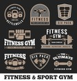 Set fitness gym and sport club logo emblem