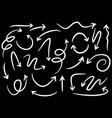 set hand drawn arrows doodle on black vector image