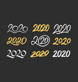 set new year 2020 calligraphy numbers vector image vector image