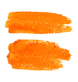 Set of Orange Watercolor Brush Strokes vector image