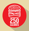 Single Hamburger 250 Calories Symbol vector image