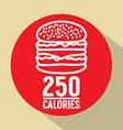 Single Hamburger 250 Calories Symbol vector image vector image