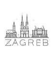skyline zagreb croatia city buildings line vector image vector image