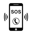 sos call icon phone sos call help vector image vector image