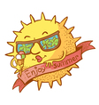 sun character with ice cream vector image