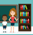 teacher with chalkboard and library vector image vector image