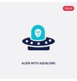 two color alien with aqualung icon from astronomy vector image vector image