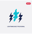 two color lightning bolt polygonal icon from vector image vector image