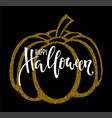 typography poster with gold pumpkin silhouette vector image vector image