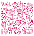 valentine day sketch set vector image vector image