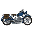 Vintage blue motorcycle vector image vector image