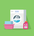 washing machine with water and foam a basin with vector image vector image
