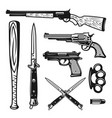 weapons design vintage elements and objects vector image