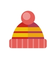 Winter Knitted Red Hat Head Covering vector image