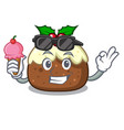 with ice cream fruit cake character cartoon vector image