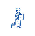 worker with plan and tools line icon concept vector image vector image