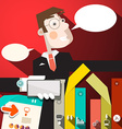 Business Man with Paper Infographic Elements and vector image