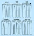 main fits of women denim line vector image