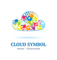 Cloud made from color hands on white background vector image