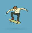 skateboarder jumping skateboarding action vector image